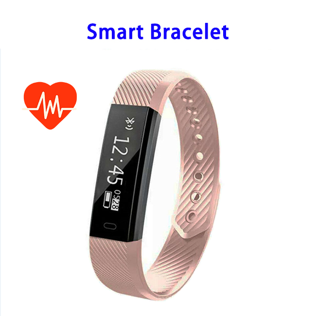 New Arrivals 0.86 inch Screen Waterproof 115HR Bluetooth 4.0 Smart Bracelet for IOS and Android