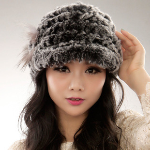 Good quality Rex rabbit fur knitted cap hat woman peaked cap keep warm