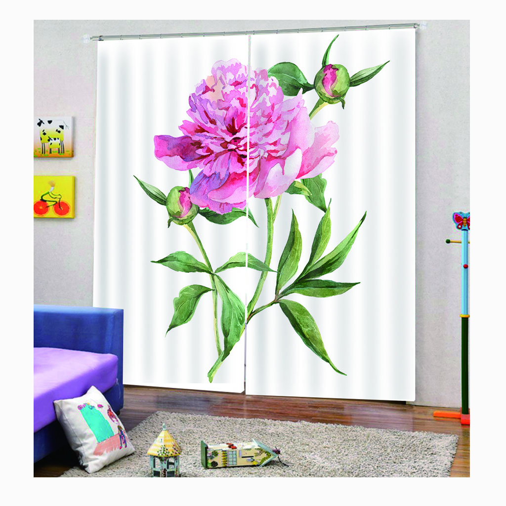 <strong>Machine</strong> Made Curtain 2020 Hot Selling Curtains Design 3D Printing Colorful Floral Curtains for the living Room