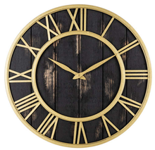 Round wood decorative wall clock for living room