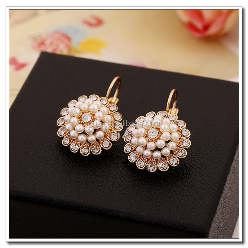 Fashion imitation jewelry gold ball drop earring,earrings accessories for earring making