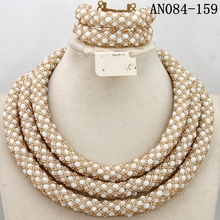 Wholesale jewelry set heavy indian fashion crystal/women wedding african beads bridal jewelry set