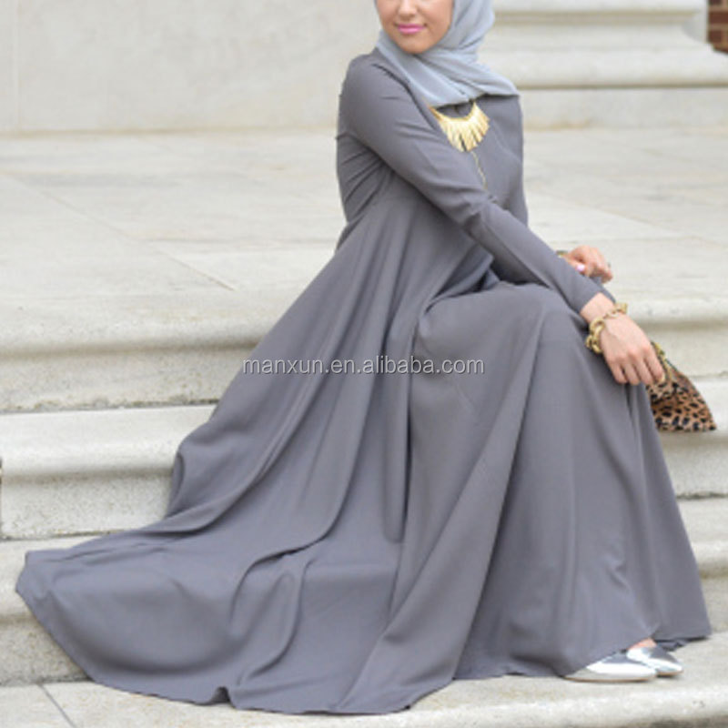 Hotsale Elegant Ethic Abaya Gray Baju Kurung Islamic Maxi Dress Simple Muslim Long Abaya