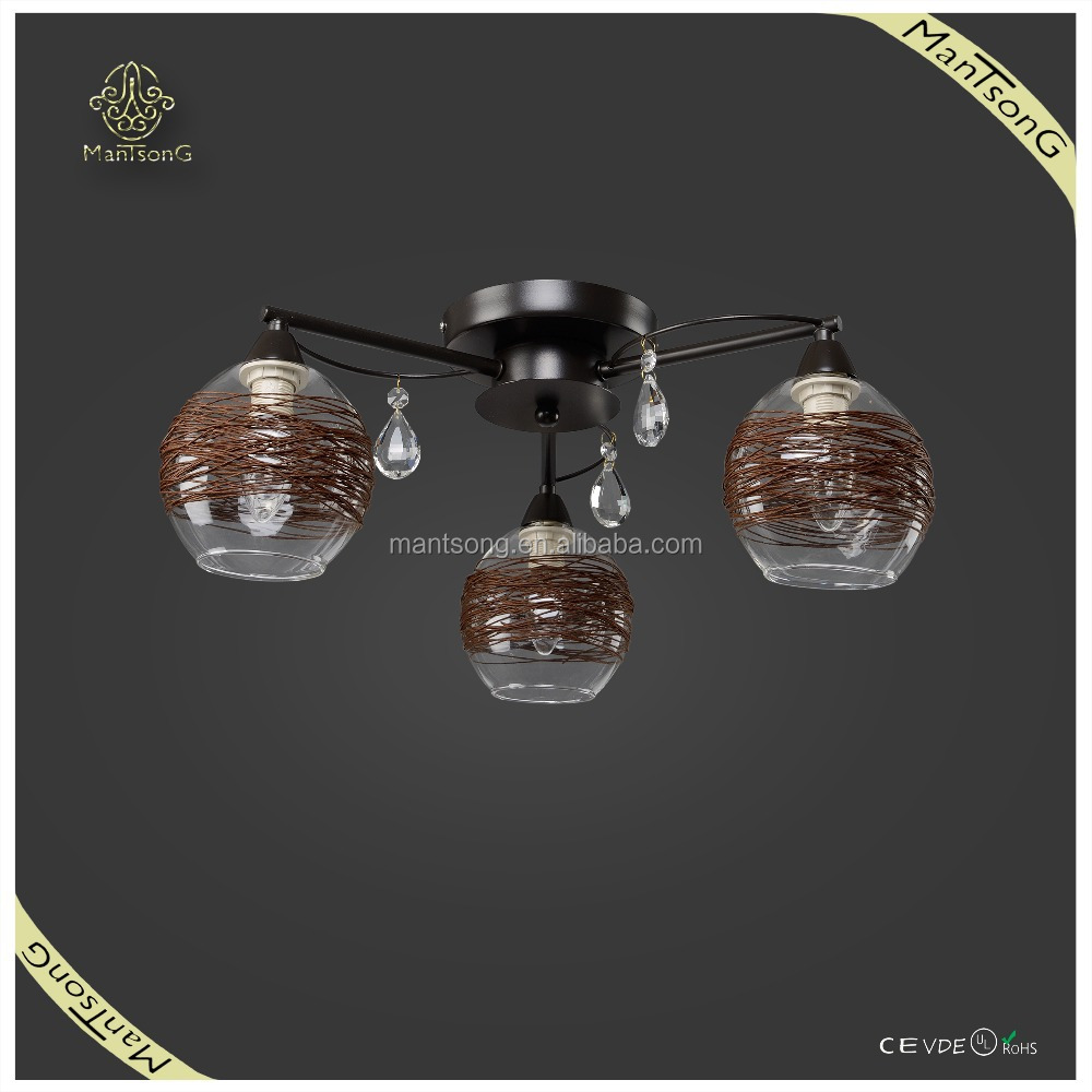 2015 new designs cheap classic style brown rattan glass shade 3 lights crystal pendants ceiling lamp