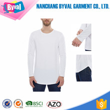 Mens Longline T-shirt 100% Cotton Long Sleeve Blank Tee Printing Custom Casual Curved t shirt Wholesale Online Shopping