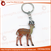 hot sales custom giraffe shaped metal cartoon keychain