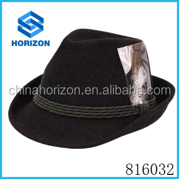 Cheap Price wool felt hat with feather decoration for women and men