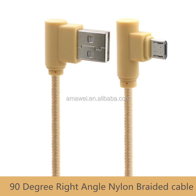 Nylon Braided Durable Elbow Micro USB Sync Data Charging Cable For Samsung