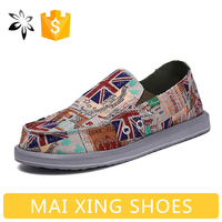 2016 New Mens Canvas Shoes No Lace Flags Casual Style Flats Man Footwear Driving Shoes