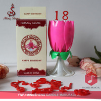 Factory pink chrysanthemum happy music candle