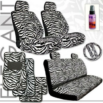 White Zebra with Black Stripes Animal Print Safari Front Car Truck SUV Low Back Bucket Seat Covers