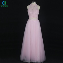 2018 Suzhou Factory Price A-line Pink Heavy Beaded Two Piece Prom Dress With Tulle Bottom