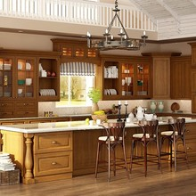 New Design Solid Wood Kitchen Cabinets China Manufacture