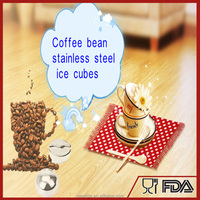 FDA approved Stainless Steel Ice Cube Freezer gel inside - Whiskey Coffee Bean Metal Scotch Stones Whisky Rocks