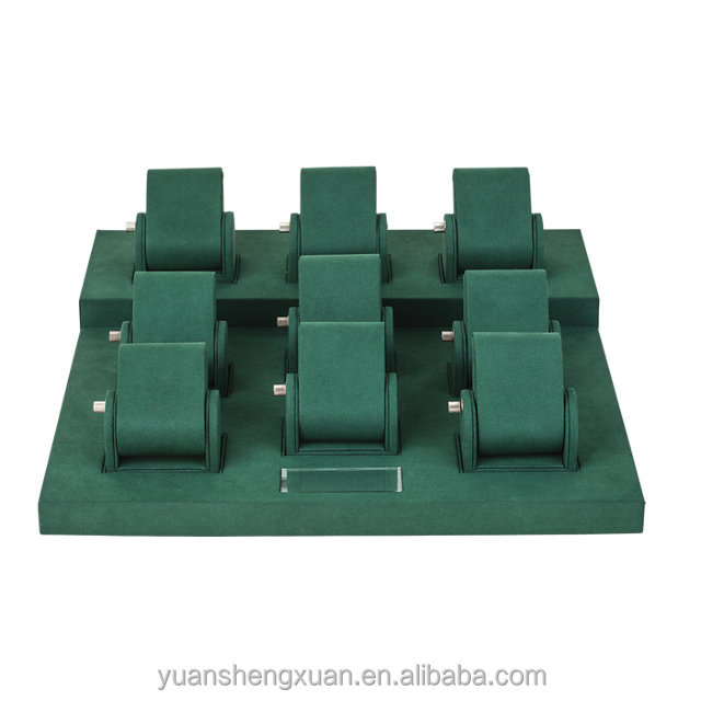 High end Green suede watch display props Bangle display props