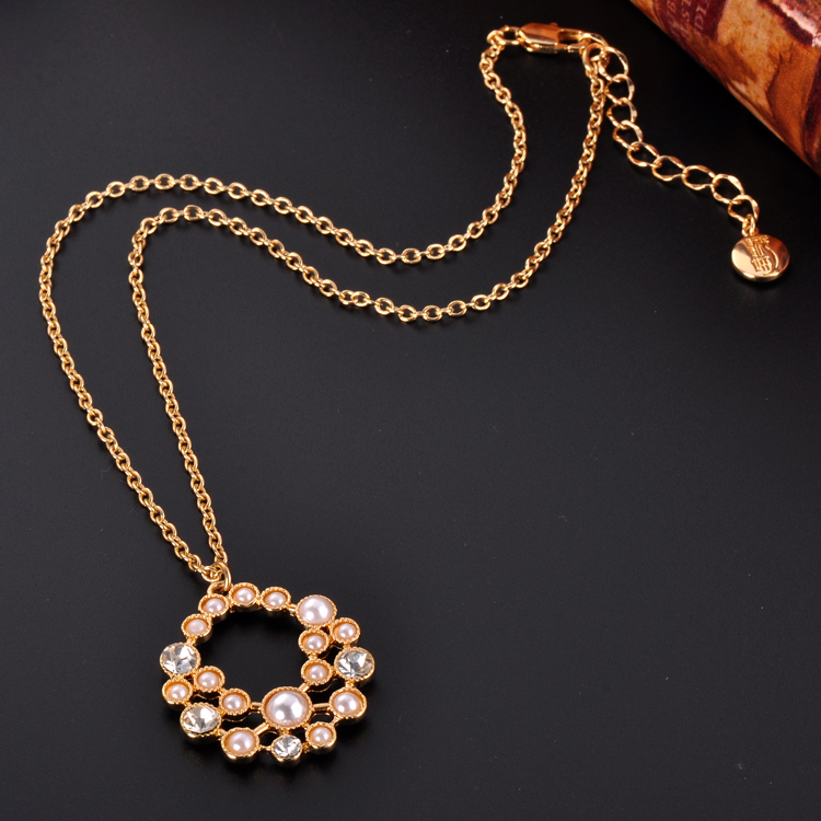 Fashion Latest Long Design Diamond Gold Chain Ball Pendant Necklace