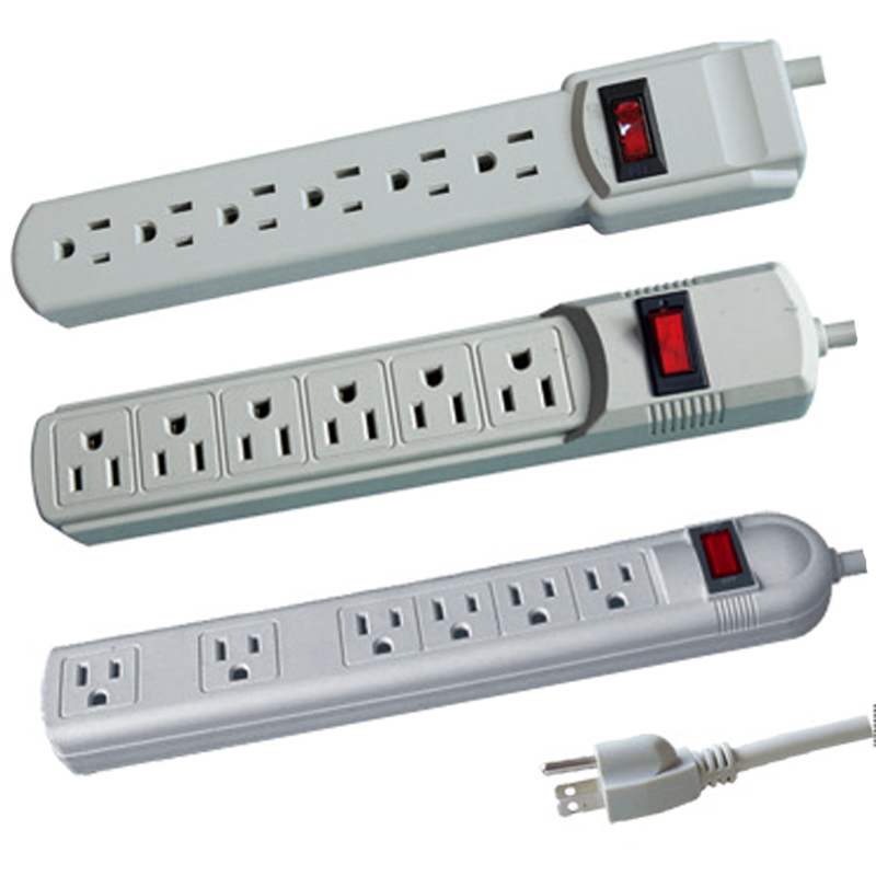 6 outlet 110V power strip with surge protector