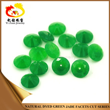 Factory price round shape faceted cut malay raw green jade for sale