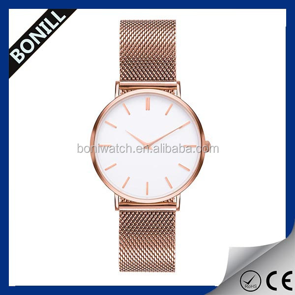Mesh band minimalist rose gold wrist watch