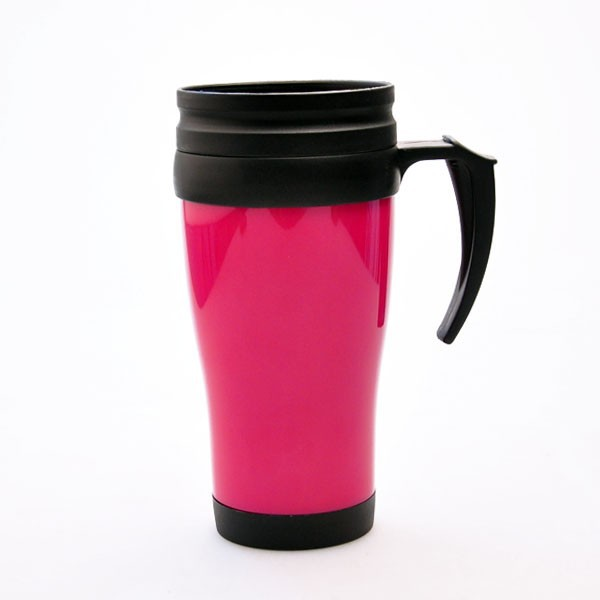 Promotional plastic cup,double wall insulated cup, drinking cup with handle 400 ML