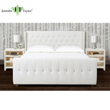 House furniture factory customize one piece MOQ wood frame headboard set, bedroom king size white fabric upholstery bed frame