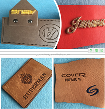Emboss change color PU synthetic leather discolor leather for trademark business label