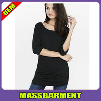 Comfortable plain black round neck long sleeve women slim fit t shirts supplier in china