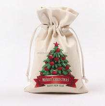 Christmas Drawstring Gift Pouch,Santa Sack Cotton Storage Bag Drawstring