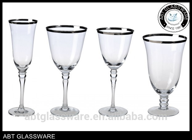 Silver Stylish Wholesale Champagne Glass with Gold Rim Made in China