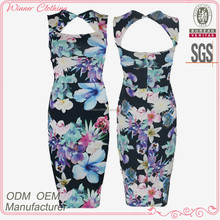 latest fashion sexy party wear floral decorated print bodycon dress