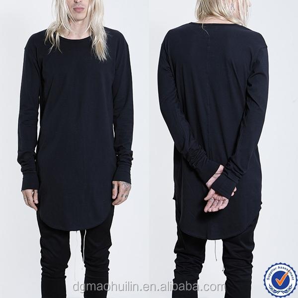 Wholesale custom tall tee long sleeve black longline t for Long sleeve tall t shirts wholesale