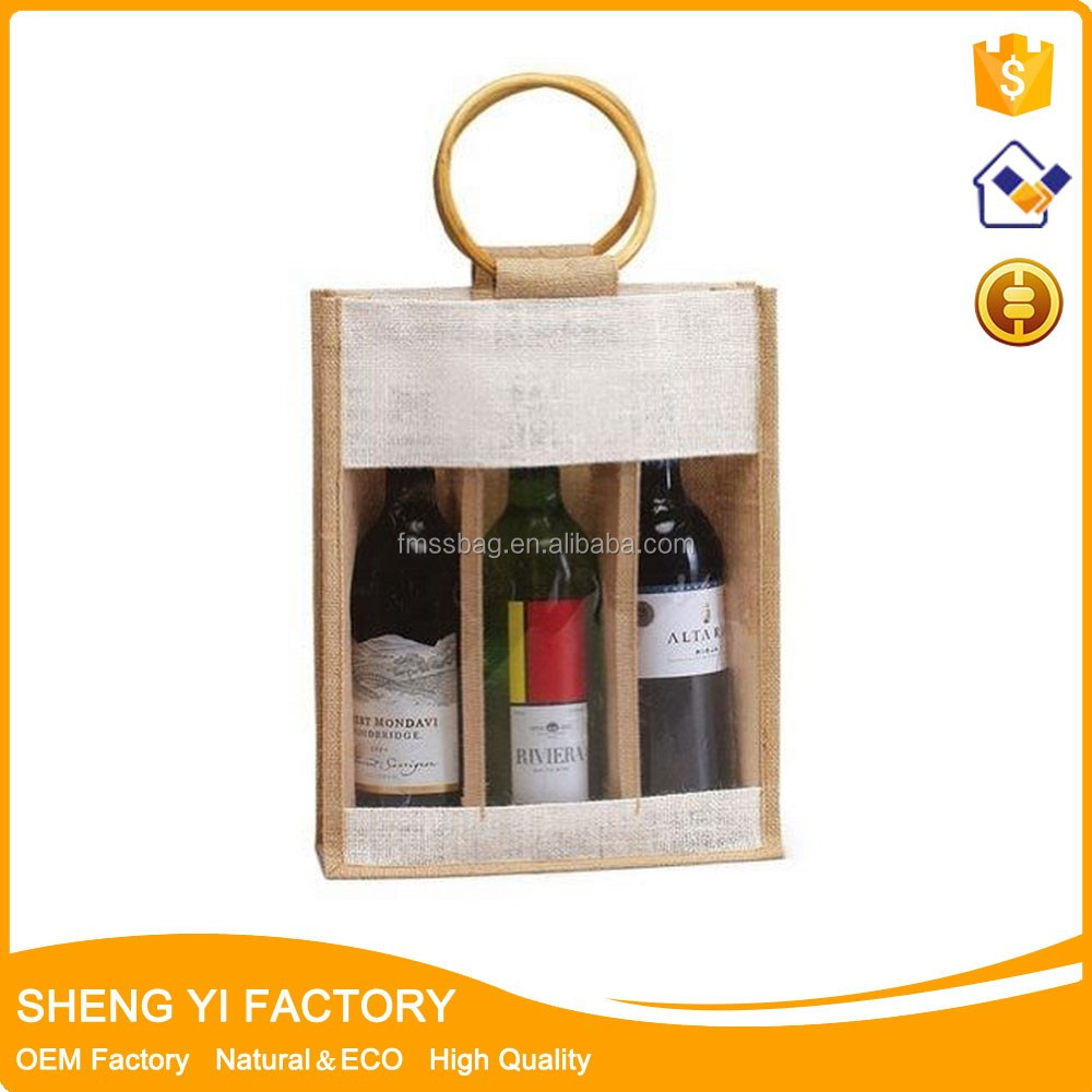 Hot selling Eco-friendly wholesale jute divided wine tote bag