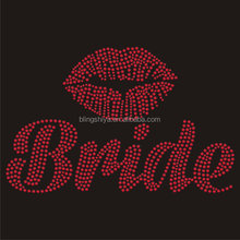 cheap price fashion red lips university heat rhinestone transfers motifs