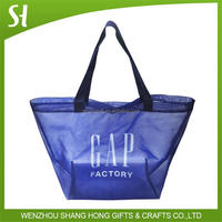 Blue Color Polyester Shopping Net Mesh Tote Bag poly mesh net bags