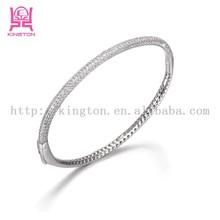 High quality half zircon half hollow 925 sterling silver bangle for girl