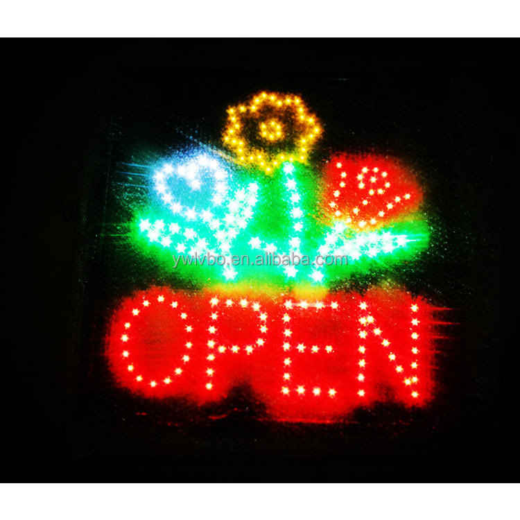 Led fresh flowers store OPEN neon sign