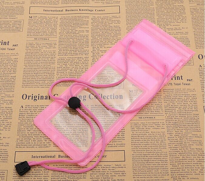 new design clear pvc waterproof cell phone case bag with string