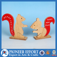 Wooden Squirrel Table Decoration for Christmas in Natural color