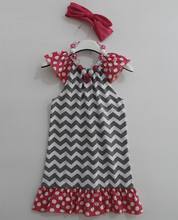 Wholesale boutique remakes baby chevron peasant dress for girls with chunky necklace M5051308