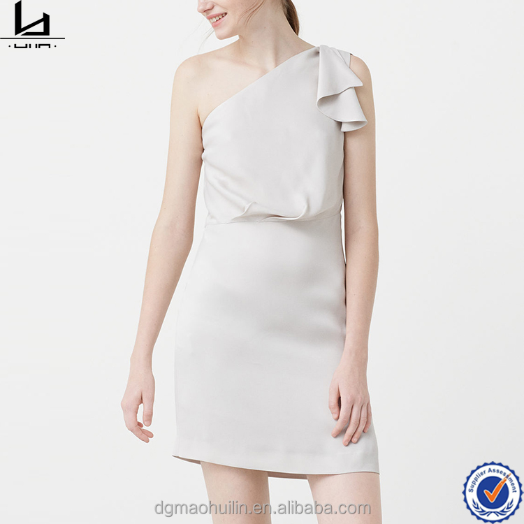new arrival best quality single shoulder frill sleeve model white latest net dress designs