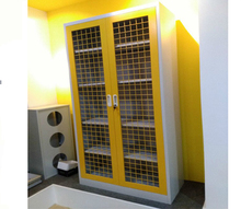 Yellow mesh door full height steel storage cabinet