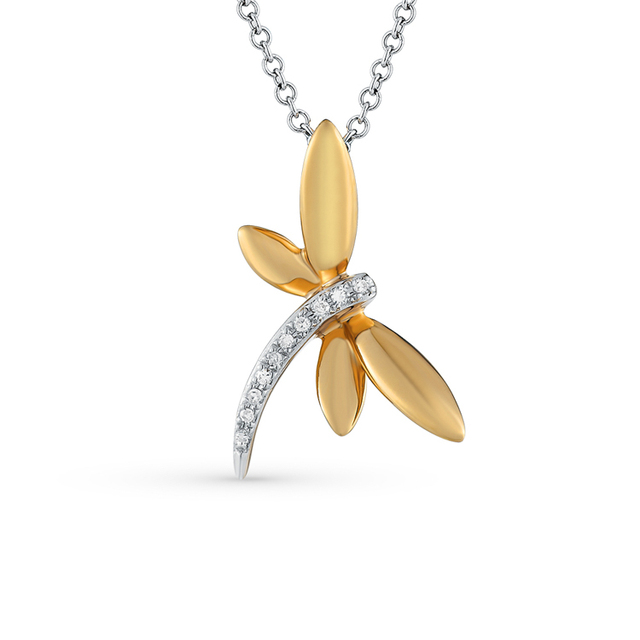 Two tone 925 Sterling Silver Dragonfly Paved CZ Stone Pendant Necklace