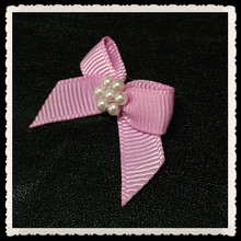 ribbon bow hair clips with small beads
