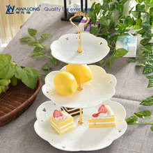 Awalong Ceramic 3 tier fruit Plates With white Hollow decoration / Cake Stand dessert plate