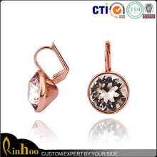 Small Cute Pink Crystal Earrings For Girls, Austria Crystal And Rose Gold Plating Combination Pink Crystal Earrings