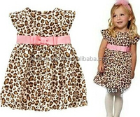 JYQ-041 2015 wholesale fashion summer hot sale new european girls Leopard princess girls sexy party dress with pink belt
