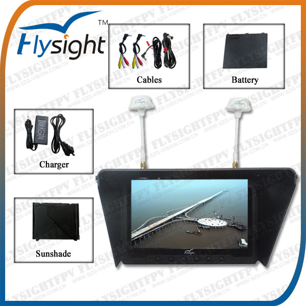 "D913 FPV System for DJI Phantom 2: Flysight 7"" HD Diversity FPV Monitor 32CH RX Built-in Battery"