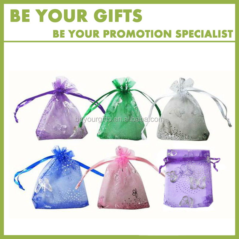 Promotional Organza Bag For Gift With Butterfly Printing 7x9cm White Color