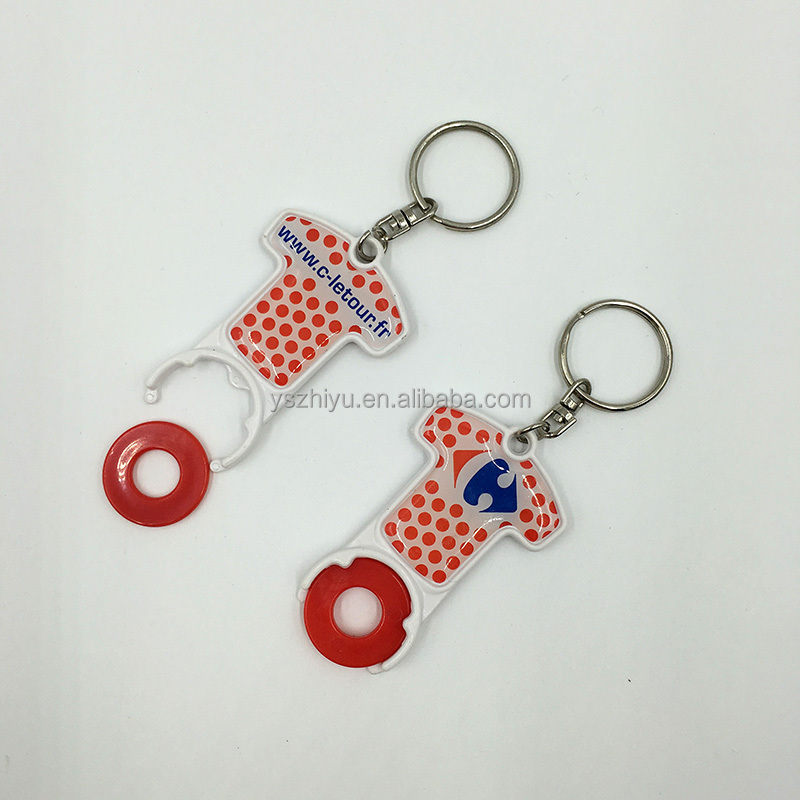 Customer Cheap Plastic Epoxy Canadian Shopping Cart Coin Key Chain