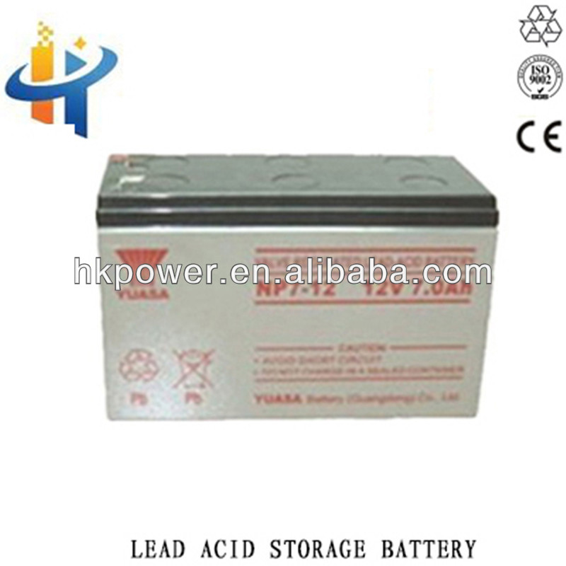 Yuasa 12V 7AH ups battery, low self discharge battery,lead acid battery in 12V